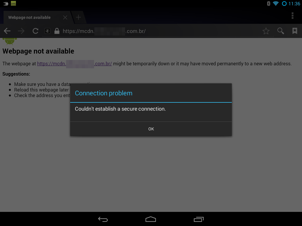 Android 4.2 Built-in Browser error